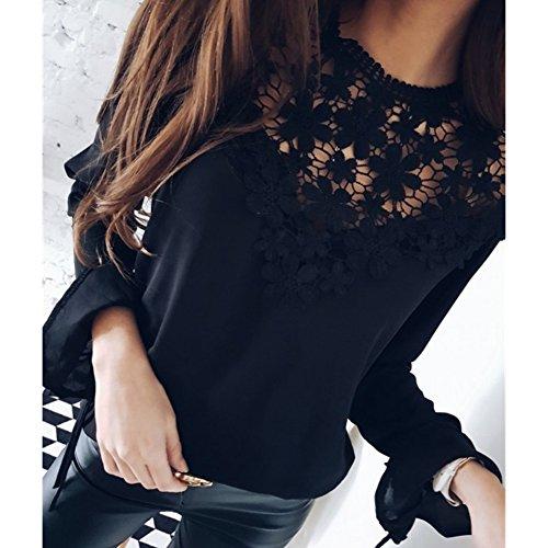Juleya Camicetta Donna Chiffon Pizzo Camicia Donne Camicia Camicette Elegante Tinta Unita Slim Fit Top a Manica Lunga o Collo Nero