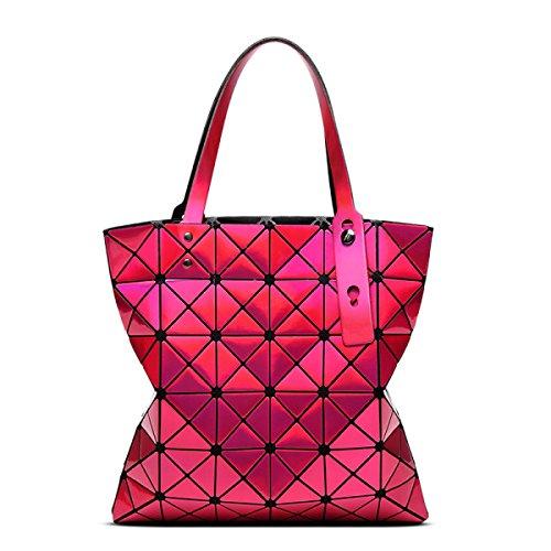 FZHLY Ms. Geometriche Borse Pieghevole Da 6 Cellulare Spalla Laser Bag,LaserPurple LaserRoseRed