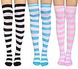 Damen Kniestrümpfe Streifen Mädchen Overknee Strümpfe Cheerleader College Kniestrümpfe Baumwolle Strümpfe Lange Socken 3 Paare (Socks-1)