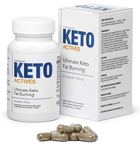 KETO ACTIVES Premium Schlankheitskur, das beste Diät-Supplement zur Gewichtskontrolle, 100% natürliche Inhaltsstoffe, enorme Fettverbrennung, entfernt Körperfett an Taille, Hüften UND Beinen !!!