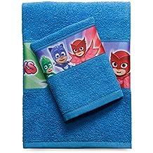 Juego de toallas en rizo de algodón con estampado de los PJ Masks (Héroes en Pijamas) - R293