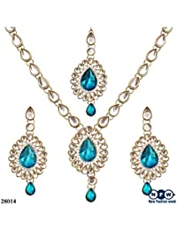 NewFashionWeek Jewellery Teal Blue Colored Alloy With Moti & Diamond Choker Necklace For Women