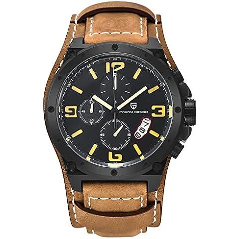 QHGstore Guarda in pelle multifunzione uomo Movimento al quarzo di sport orologio da polso cassa nera e numero di colore giallo