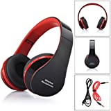 Malloom® Plegable estéreo Bluetooth Wireless Headset Manos Libres Auriculares Mic (rojo )