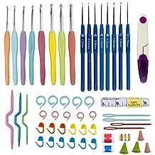 Juego de ganchos de ganchillo 54 Paquetes Herramientas de tejer Tijeras, Agujas de coser de