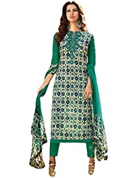 Smart & Chic Green Printed Cotton Salwar Suit Dress Material for Women