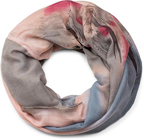 styleBREAKER Loop Schlauchschal im Splat Look mit Kleckse, Punkte und Strich Muster, Batik, Farbverlauf, Schal, Tuch, Damen 01017036, Farbe:Rose-Grau-Blau -
