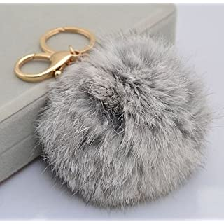 ANKKO Plush Ball Gold Plated Charm Key Chain for Car Key Ring Bag - Grey