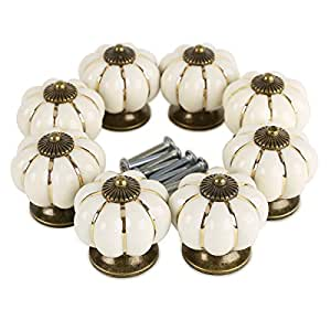 SurePromise 8X Ceramic Vintage Pumpkin Cabinet Drawer Knob Door Handle Pull Ivory