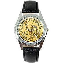 Taport® USA Gold state of Liberty Dollar Coin quarzo Orologio rotondo nero in vera pelle Band + batteria di ricambio libero + free Gift bag