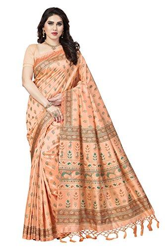 Rani Saahiba Women\'s Gold Printed Art Silk Saree ( SKR3935_Peach )