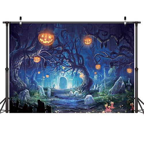 (LYWYGG 7x5FT Halloween Horrible Stein Schloss Hintergrund Terror Baum Kürbis Laterne Hintergrund Für Kinder Studio Requisiten Foto Hintergrund CP-61)