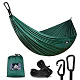 NatureFun Ultra-Light Travel Camping Hammock   300kg Load Capacity,(275 x 140 cm) Breathable,Quick-drying Parachute Nylon   2 x Premium Carabiners,2 x Nylon Slings Included   For Outdoor Indoor Garten