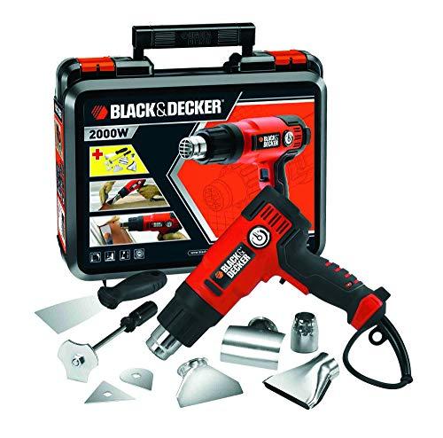BLACK+DECKER KX2200K-QS Décapeur Thermique Filaire - 360 à 720 L D'air/min - Fourni en Coffret avec 4 Buses, 1 Grattoir, 1 Poignée Grattoir et 2 Têtes de Grattoir 2200W, Orange
