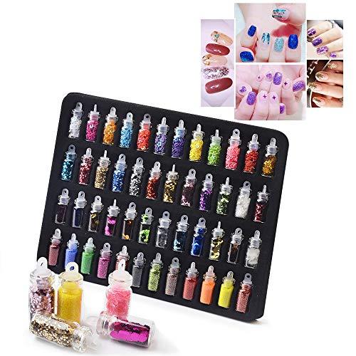 Cooljun 48 boîtes ongles paillettes chunky paillettes iridescent flocons ultra-mince conseils coloré mixte paillette visage corps ongles art