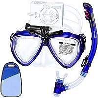 HUMGOO Snorkel Máscara Gafas de Buceo, Perfecto 180°Máscara de Buceo Lentes de Vidrio Templado, mascarilla de Silicona para Alimentos y Correa Ajustable para