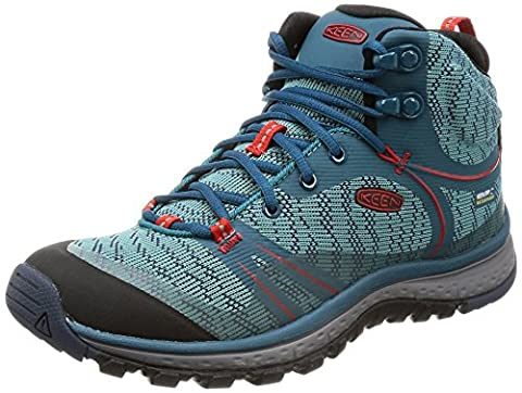 Keen Women's Terradora Mid Wp Hiking Shoes blue BLUE CORAL/FIERY RED