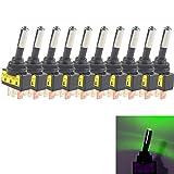 E Support™ 10 X KFZ Auto Kippschalter Schalter Wippschalter 12V 20A Grün LED Licht Lampe Beleuchtet SPST 3-Polig