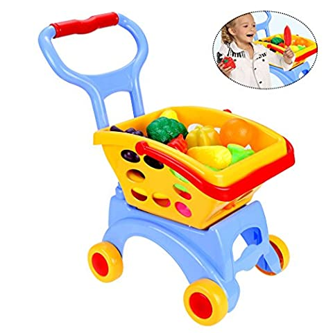 Kids Pretend Play Supermarket Shopping Trolley Food Cart with Vegetable and Fruits Educational Toys for Children Boys Girls - Above 3Y (BLUE)