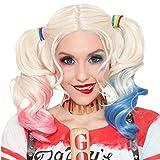 Harley Quinn Suicide Squad Silver con Pink & Blue Pigtails para niños Carnaval Halloween Cosplay Película Idea de regalo Niñas Nueva moda Sin encaje Disfraces Disfraces Peluca de cabello natural