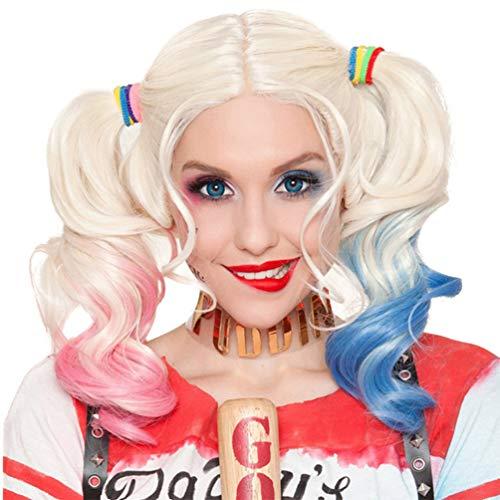 Harley Quinn Perücke Selbstmordkommando Silber mit rosa und blauen Zöpfen für Kinder Karneval Halloween Cosplay Film Geschenkidee Kleine Mädchen Neue Mode Keine Spitze Kostüm Kostüme