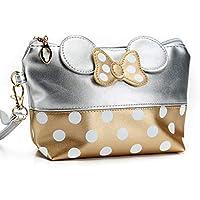 Girls Cosmetic Bag Lovely Cartoon Bow Makeup Case Storage Women Zipper Hand Holding Make Up Handbag Convenient Travel Bag