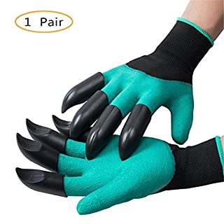 Yunhigh Puncture Resistant Garden Gloves Waterproof Digging Gloves With Claws for Pruning, Raking, Digging & Planting, Best Gardening Tools for Gardeners, One Pair (Claws on Each Hand)