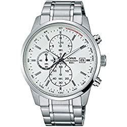 Chronograph Lorus Men Chrono Silver Dial Steel Date Watch rm333dx9
