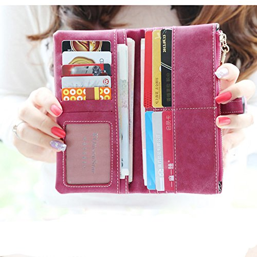 EQLEF® Fashion Women Wallets Lady's Nubuck Leather Zipper Long Purse Wallet
