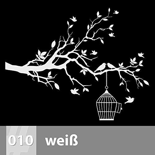 Baum mit Vögeln und Käfig Wandtattoo 115cm x 90cm, 010 weiß, XL