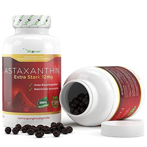 Astaxanthin 12 mg, 120 Softgel Kapseln zum Sonderpreis, Neue Version, starker natürlicher Antioxidant, Hohe Bioverfügbarkeit, Vit4ever (Softgels Astaxanthin)