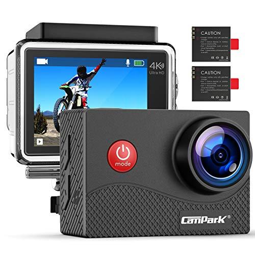 Preisvergleich Produktbild Campark 4K Action Cam WiFi wasserdichte Unterwasserkamera 30m Helmkamera 16MP mit 170 ° Ultra-Weitwinkel EIS und viel Zubehör Kompatibel mit gopro