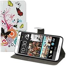 kwmobile Funda para HTC Desire 610 - Wallet Case plegable de cuero sintético - Cover con tapa tarjetero y soporte Diseño mariposas hippies en multicolor rosa fucsia blanco