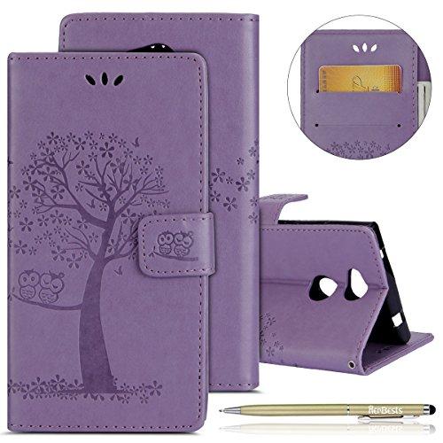 Kompatibel mit Handy Tasche Sony Xperia L2 Lederhülle Dünn Leder Tasche Kunstleder Schutzhülle Bookcase Klapphülle Eule Baum Vintage Muster Handyhüllen Handy Flip Case Kartenfach,lila