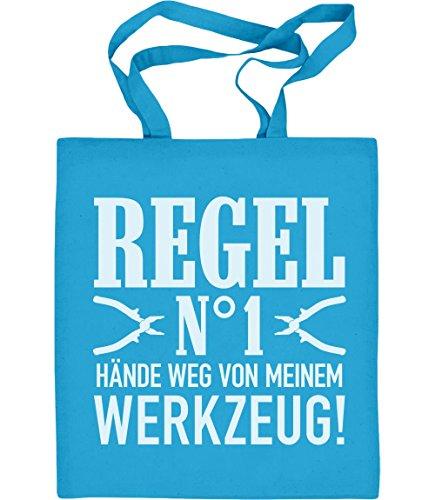 Männer Geschenk - Regel Nummer 1 Hände Weg von meinem Werkzeug! Jutebeutel Baumwolltasche Hellblau