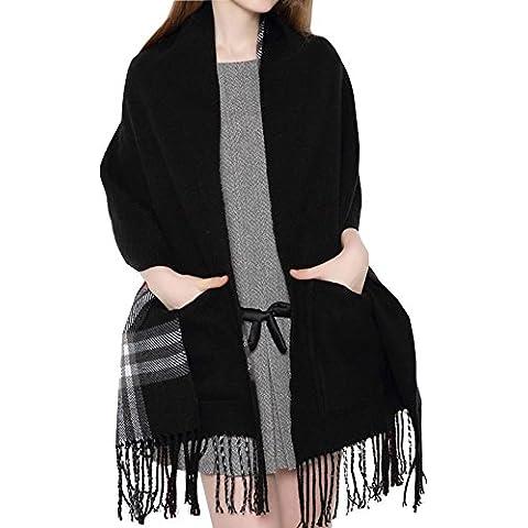 Kissing U El invierno caliente del tartán de la bufanda larga suave de la cachemira de las borlas de tela escocesa Chequeado gruesas Wrap Chales para muchachas de las mujeres