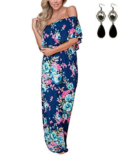 Sitengle Damen Kleider mit Blüte Drucken Bandeau Wohnung Schultern Maxikleider Sommerkleid Cocktailparty Freizeitkleider Strandkleider Blau