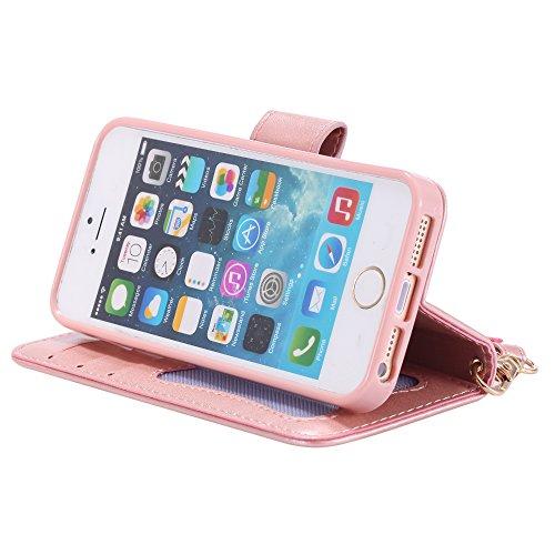 UKDANDANWEI Apple iPhone 5s Case, noctilucent modèle Etui Supporter Flip PU Cuir Pochette Portefeuille Housse Coque avec Crédit Carte Tenant Fente pour Apple iPhone 5s - Brun Rose Gold