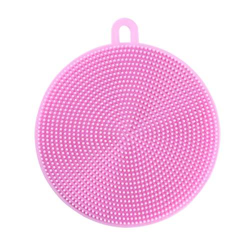 zssmGood 5Pcs/Set Radiergummi Silikon Dish Sponge Scrubber Pot Schrubber Haushalts-Reinigungs-Schwämme Antibakteriell Bürsten Rosa
