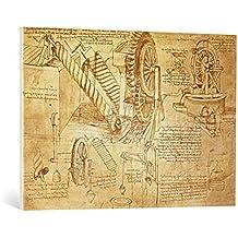 """Cuadro en lienzo: Leonardo da Vinci """"Facsimile of Codex Atlanticus f.386r Archimedes Screws and Water Wheels (original copy in the Biblioteca Ambosiana, Milan, 1503/"""" - Impresión artística de alta calidad, lienzo en bastidor, 100x70 cm"""