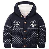 ZOEREA Baby Junge Mädchen Strick Mantel Watte Weihnachten warme Pullover Baumwolle Mützen Strickmütze Hüte mit Elch Hirsche Schneeflocke Muster Mantel (Blau, Körpergröße 80-90)