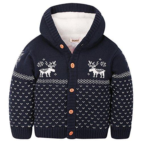 Kostüme Eltern Kind Beste (ZOEREA Baby Junge Mädchen Strick Mantel Watte Weihnachten warme Pullover Baumwolle Mützen Strickmütze Hüte mit Elch Hirsche Schneeflocke Muster Mantel (Blau, Körpergröße)