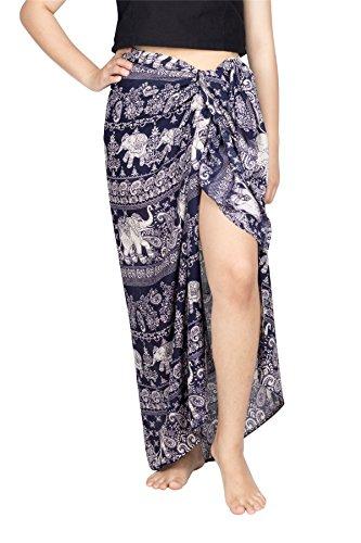 Lofbaz Damen Strand Pareo Sarong Wickeltuch Strandkleid Design #4 Dunkelblau Einheitsgröße