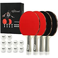 Upstreet 4 Ping Pong Paddle Set with Ten 3-Star Balls For Table Tennis