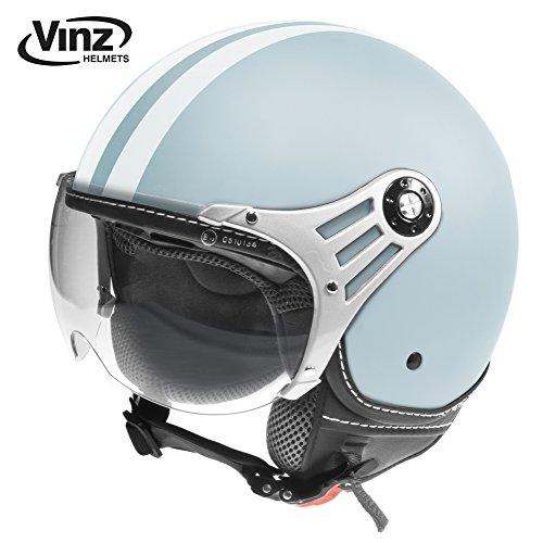 Vinz Motorradhelm Rollerhelm Jethelm Jet Helm Fashionhelm hellblau mit weißen Streifen in Gr. XS-L...