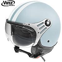 Vinz Rollerhelm Jethelm Fashionhelm   Roller Jet Helm mit Streifen   in Gr. XS-XL   Motorradhelm mit Visier   ECE zertifiziert (S, Hellblau)
