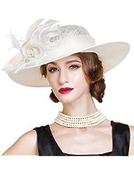 HomArt Sombreros de Kentucky Derby de Carrera Sombrero de ala ancha del patron de Rosa de la boda de camionero de las Mujeres