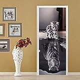 XIAOXINYUAN DIY-Cat Und Tiger 3D Tür Aufkleber PVC Wasserdichte Türen Poster An Der Wand Aufkleber Aufkleber Für Zimmer Schlafzimmer Home Decor