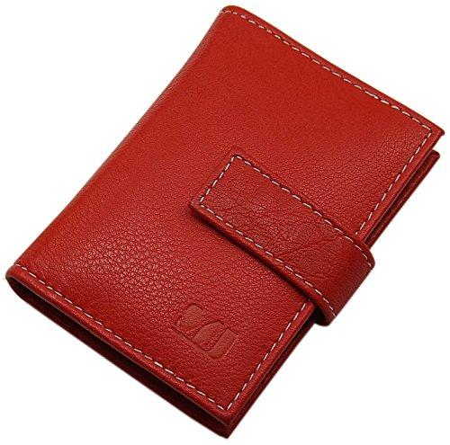 XL Porta carte di credito in pelle di bufalo MJ-Design-Germany in diversi colori (Nero) Rosso