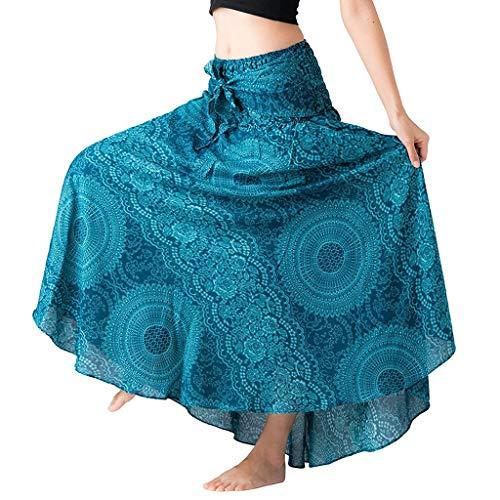 Binggong Kleid Damen Rock Lang Bohemian Stil Sommerkleid Strandkleider Hippie Gypsy Boho Kleid Ethnisch Blumendruck Hohe Taille Lange Röcke Frauen Elegante Rayon Festliche Halterrock -